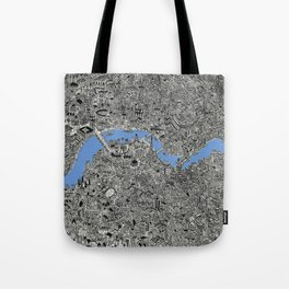 Map of London Thames Drawing Tote Bag