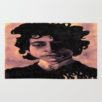 60s Area & Throw Rugs featuring Bob Dylan (60s style) by Catheriney