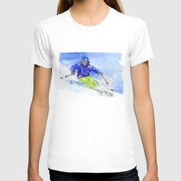 Watercolor skier, skiing illustration T-shirt