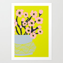 Pink Blooms in Blue Vase No 02 Art Print
