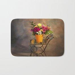 Garden Cart With Flowers Bath Mat