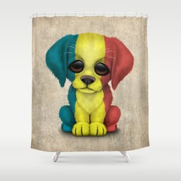 Cute Puppy Dog with flag of Romania Shower Curtain
