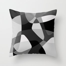 Mid Century Modern Abstract Rock Layers Charcoal Throw Pillow
