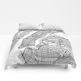 New York City Neutral Map Art Print Comforters