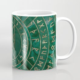 Web of Wyrd - Malachite, Leather and Golden texture Coffee Mug