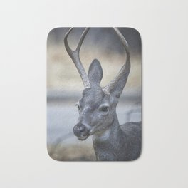 Buck with Two Pronged Antlers Bath Mat