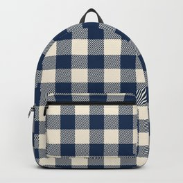 Buffalo Plaid Rustic Lumberjack Blue and White Check Pattern Backpack