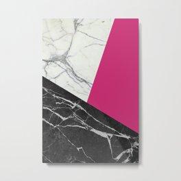 Black and white marble with pantone pink yarrow Metal Print