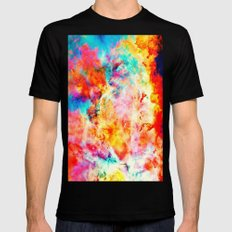 Colorful Abstract Nebula Black Mens Fitted Tee MEDIUM