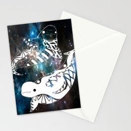 beluga whales twins in yin and yang ecopop pattern Stationery Cards