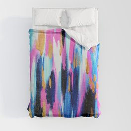 Spring Golden - Pink and Navy Abstract Duvet Cover