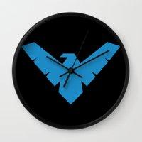 nightwing Wall Clocks featuring Nightwing by Yesi Danderfer