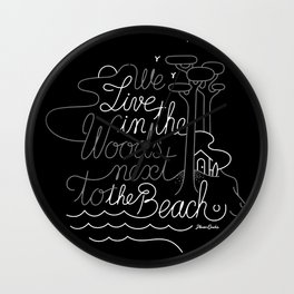 WOODY BEACH Black/Grey Wall Clock