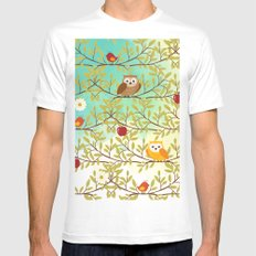 Autumn birds MEDIUM Mens Fitted Tee White