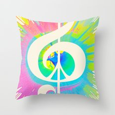 Tie Dye Music & Peace Throw Pillow