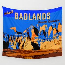 Visit Badlands Retro Postcard Wall Tapestry