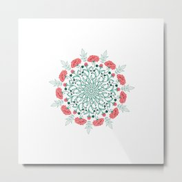 English Rose Mandala Metal Print