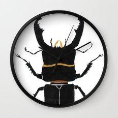 Noir Beetle Dark Watercolor  Wall Clock