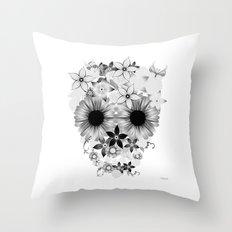 Skull Flowers grey - white Throw Pillow