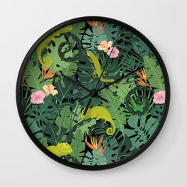 Chameleons And Salamanders In The Jungle Pattern Wall Clock