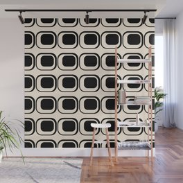 Mod 3 Retro Minimalist Pattern in Black and Almond Cream Wall Mural