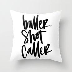 Baller, Shot Caller Hand Lettering Throw Pillow