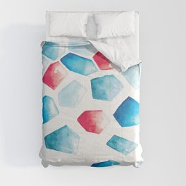 Watercolor Crystals | Blue and Red Comforters