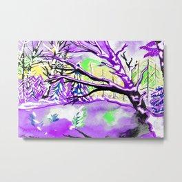 Frozen Pond Winter Landscape - Purple Palette Metal Print