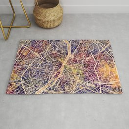 Paris France City Map Rug