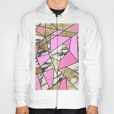 Girly Pink Geometric Gold and Modern Marble Hoody