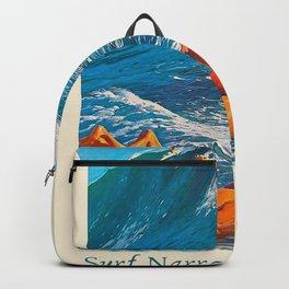 Surf Narragansett Beach, Rhode Island Vintage Surfing Big Swell Poster - New England Surfers Backpack