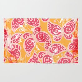 Orange & Pink Grunge Butterfly Pattern Rug