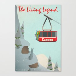 Cannon Mountain Vintage Ski Poster Canvas Print