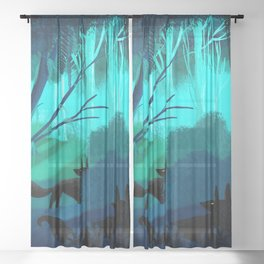 Shadow Wolves Stalk The Silver Wood Sheer Curtain