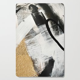 Armor [9]: a minimal abstract piece in black white and gold by Alyssa Hamilton Art Cutting Board