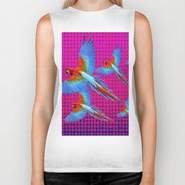 FLIGHT OF BLUE MACAWS IN FUCHSIA OPTICS Biker Tank
