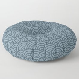 Blue Indigo Denim Waves Floor Pillow