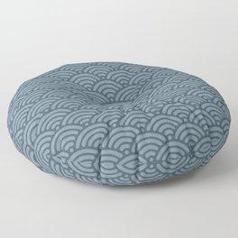 Blue Indigo Denim Waves Floor Pillow