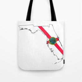 Florida Map with Florida State Flag Tote Bag