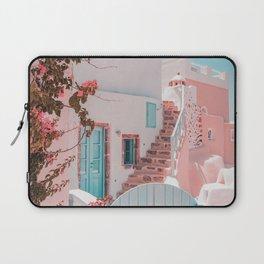 Santorini Greece Pink House Laptop Sleeve