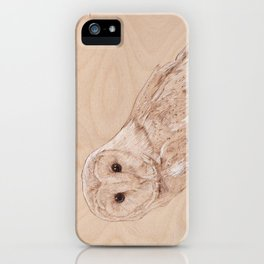 Owl Portrait - Drawing by Burning on Wood - Pyrography Art iPhone Case