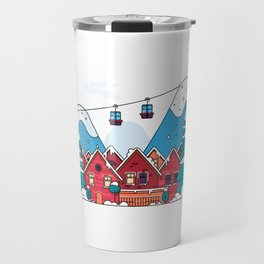 Cartoon snow home and rural cottages set. Travel Mug