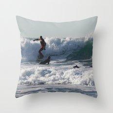 Winter Surfing Throw Pillow
