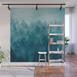 Misty Pine Forest Wall Mural