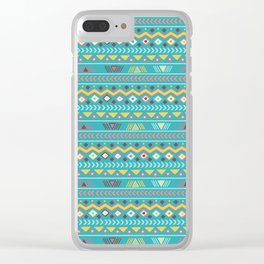 Geometrical teal orange colorful tribal aztec Clear iPhone Case