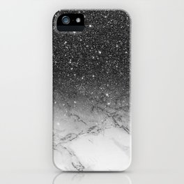 Stylish faux black glitter ombre white marble pattern iPhone Case
