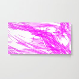 Pink and smooth sparkling lines of crimson ribbons on the theme of space and abstraction. Metal Print