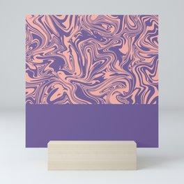 Liquid Swirl - Peach Bud and Ultra Violet Mini Art Print