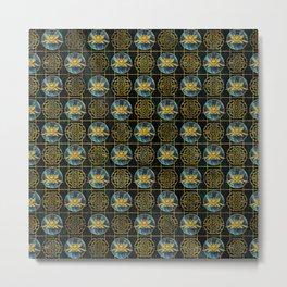 Luxury Chinese Golden Lotus on Abalone Metal Print