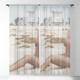 8802-SS Beautiful Naked Woman Nude Beach Sand Surf Big Breasts Long Black Hair Sexy Erotic Art Sheer Curtain